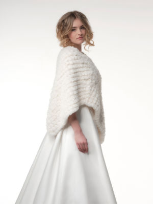 Poncho maille fourure